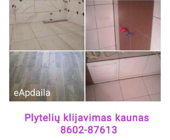 Plytelių klijavimas kaunas 8602-87613, Plytelių klojimas Kaune, vonios plytelių klijavimas, virtuvės plytelių klijavimas. Sienų, grindų plyteles
